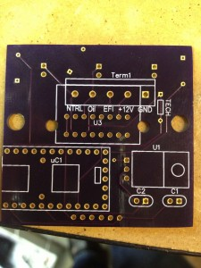 Back side of the v2.0 PCB