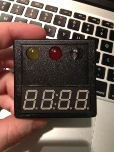 Front of case showing 3 warning lights and 4 digit display for error codes & water temp