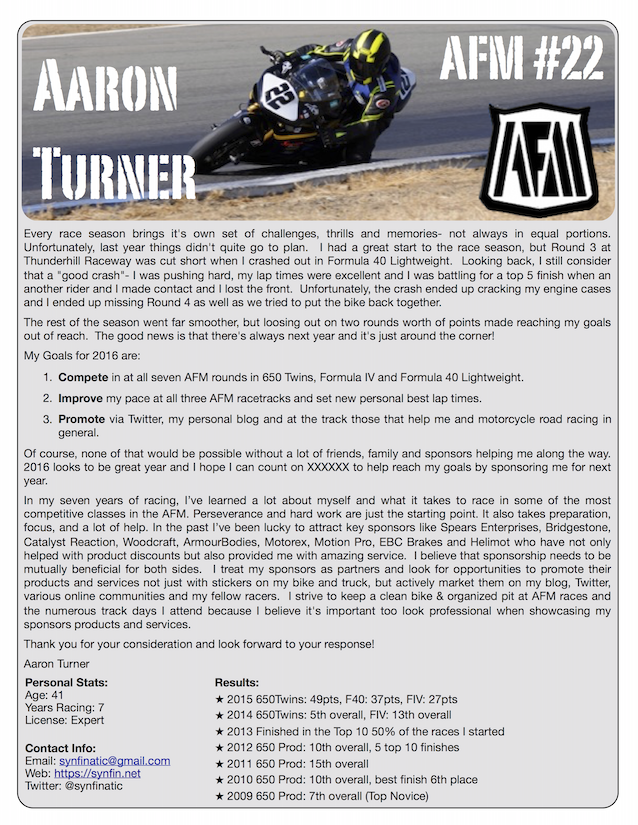creating a racing resume for sponsorship
