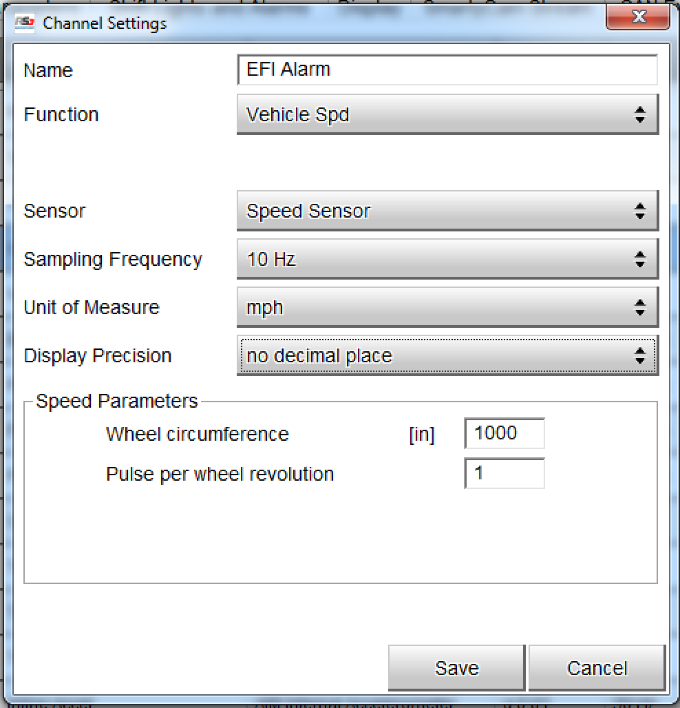 Configuring the Speed3 input for the EFI Alarm